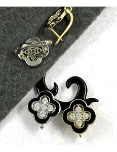 Швензы Ван клифф с черной эмалью и цирконами