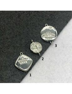 Коннекторы, разные, родий с цирконами, 9-12мм