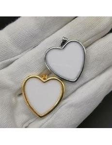 Подвеска Сердце, белая эмаль, 20 мм