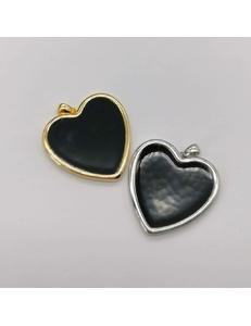 Подвеска Сердце, черная эмаль, 20 мм