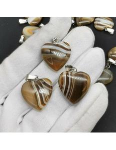 Подвеска Сердце коричневого Агата, 20 мм