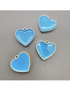 Подвеска Сердце рифленые края, с голубой эмалью, 16мм