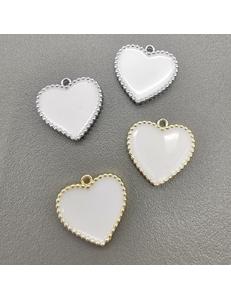 Подвеска Сердце рифленые края, с белой эмалью, 16мм