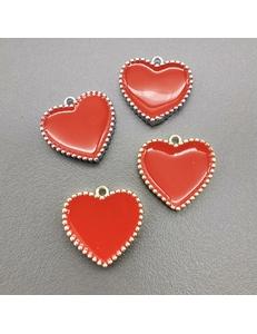 Подвеска Сердце рифленые края, с красной эмалью, 16мм