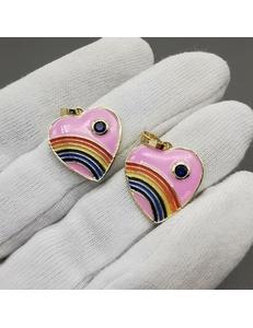 Подвеска Радужное сердце (розовое), позолота, 18мм
