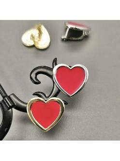 Швензы Сердце с красной эмалью, 17мм