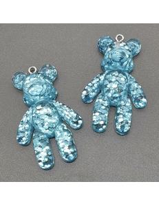 Подвеска Мишка, пластик, голубой с блестками, 28*44 мм