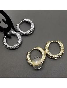 Серьги-кольца, рифлёные, 18*3,3 мм, родий, позолота