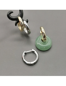 Серьги-кольца, 16*3 мм, родий, позолота