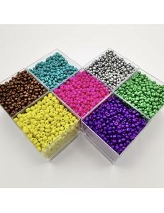 Бисер, стеклянный, разные цвета, 3.5*4 мм