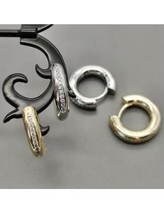 Серьги-кольца, с цирконами, 20*4 мм, позолота, родий