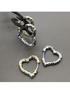 Серьги в виде сердца, рифлёные, 20*3 мм, родий, позолота