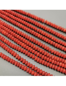 Бусина рондель, коралл, 5*3 мм