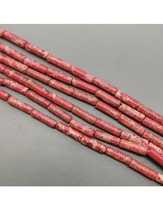 Бусина трубочка красный Варисцит, 4*13 мм