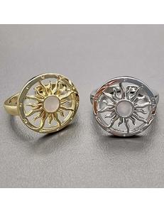Кольцо Солнце с перламутром, 16 мм, позолота, родий