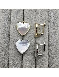 Швензы Сердце с перламутром, 16.5 мм, позолота, родий