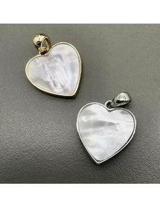 Подвеска Сердце с перламутром, 16.5 мм, позолота, родий