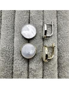 Швензы Круг с перламутром, 16 мм, позолота, родий