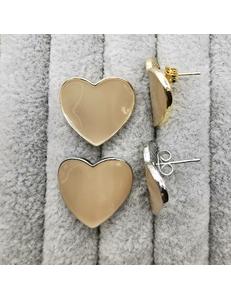 Швензы Сердце с бежевой эмалью, 20 мм, позолота, родий