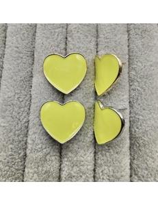 Швензы Сердце с желтой эмалью, 20 мм, позолота, родий