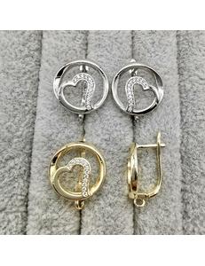Швензы с цирконами, 16 мм, позолота, родий