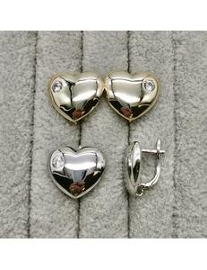 Швензы Сердце с цирконом, 18 мм, позолота, родий