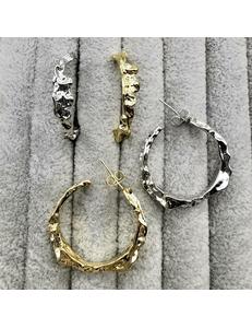 Серьги гвоздики Кольца, 31 мм, позолота, родий