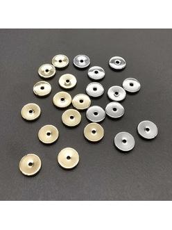 Разделители, спейсеры, плоские, 6*1 мм, позолота, родий