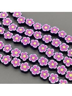 Бусины Фиолетовые цветочки, силикон, 9,5 мм, шт