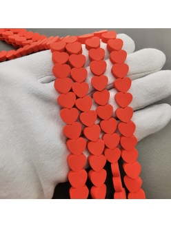 Бусины сeрдце, красный силикон, 10*4 мм, шт