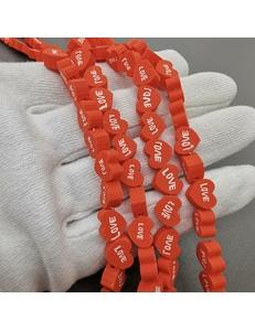 Бусины Love, красный силикон, 9*4 мм, шт