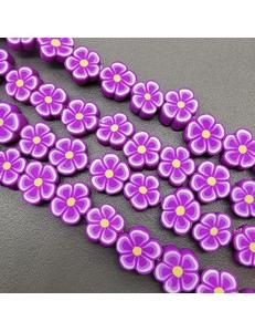 Бусины цветок пурпурный, силикон, 9,5 мм, шт