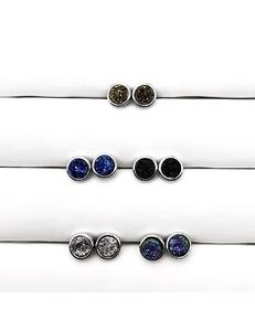 Серьги-гвоздики Мини круг, кварц в родие, 8 мм