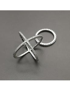 Кольцо двойное с фианитами, 17-18 мм, родий