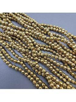 Бусина Гематит, граненный, золотистый, 4 мм