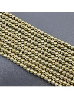 Бусина Гематит, Круг, золотистый, 3, 4, 5 мм