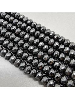 Бусина рондель, Агат черный, граненный, 5*8 мм