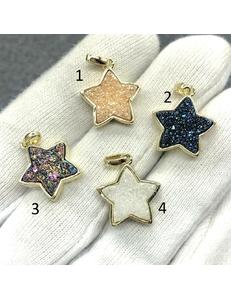 Подвески Звезды, кварца, позолота, 15 мм, шт