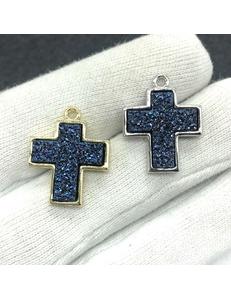 Подвески Крест кварца, фиолет, шт