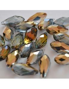 Бусина, стеклянная, золото с переливом, 8*16 мм