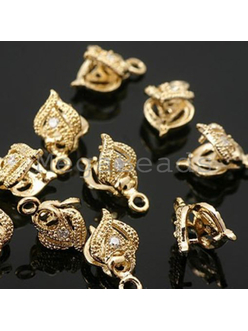 Бейлы для кулонов с цирконами, золото, 11x6.5мм