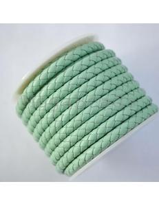 Плетеный кожаный шнур, 5 мм, мятный салат