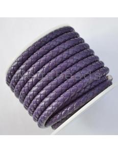 Плетеный кожаный шнур, 5 мм, фиолетовый