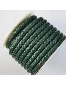 Плетеный кожаный шнур, 5 мм, темно-зеленый
