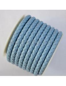 Плетеный кожаный шнур, 5 мм, голубой