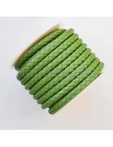 Плетеный кожаный шнур, 5 мм, зеленый