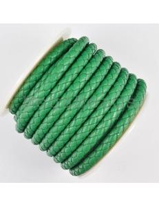Плетеный кожаный шнур, 5 мм, изумрудный