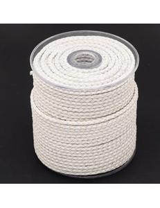 Плетеный кожаный шнур, белый, 5 мм
